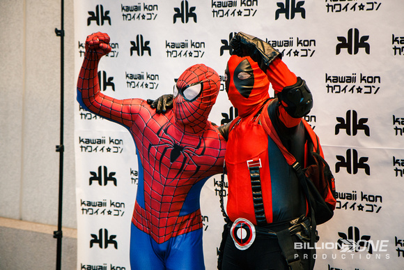 Spiderman and Deadpool making their celebrity rounds.